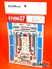 Studio27: Marking / livery 1/24 scale - Porsche 962 Blaupunkt Primagaz #8 - Jean-Louis Ricci (FR), Jean-Claude Andruet (FR), Henri Pescarolo (FR) - 24 Hours Le Mans 1989 - water slide decals and assembly instructions - for Tamiya kits TAM24233 and TAM24313