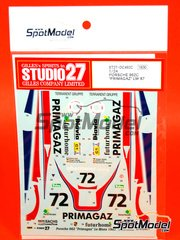 Studio27: Marking / livery 1/24 scale - Porsche 962 Primagaz Futurhome Obermair racing #72 - Jürgen Lässig (DE), Pierre Yver (FR), Bernard de Dryver (BE) - 24 Hours Le Mans 1987 - water slide decals and assembly instructions - for Tamiya kits TAM24233 and TAM24313