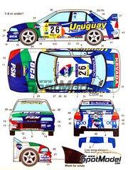 Studio27: Decals 1/24 scale - Mitsubishi Lancer Evo IV Uruguay #26 - Gustavo Trelles (UY) + Jorge del Buono (AR) - Catalunya Costa Dorada Rally 2001