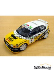 Studio27: Marking / livery 1/24 scale - Toyota Corolla WRC Benson and Hedges Viceroy #1 - Juha Kankkunen (FI) + Juha Repo (FI) - El Corte Ingles Rally  2001 - water slide decals and assembly instructions