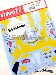 Studio27: Marking / livery 1/24 scale - Lancia Stratos HF Olio Fiat #24 - Fabrizio Tabaton (IT) + Emilio Radaelli (IT) - Sanremo Rally 1980 - water slide decals and assembly instructions - for Hasegawa references 20217, 20268, 20282, 25032, CR-32, HACR32, 25032, CR-32, HACR33, 25033 and CR-33, or Italeri reference 3654
