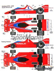 Studio27: Marking / livery 1/20 scale - Brabham Alfa Romeo BT46 Parmalat #1, 2 - John Watson (GB), Niki Lauda (AT) - South African Grand Prix 1978