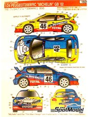Studio27: Decals 1/24 scale - Peugeot 206 WRC Michelin #46 - Valentino Rossi (IT) + Carlo Cassina (IT) - RAC Rally 2002 - for Tamiya reference TAM24267