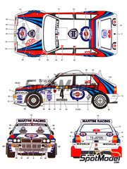 Studio27: Calcas de agua escala 1/24 - Lancia Super Delta Deltona HF Integrale Martini Nº 1, 4, 11 - Juha Kankkunen (FI) + Juha Piironen (FI), Didier Auriol (FR) + Bernard Occelli (FR), Philippe Bugalski (FR) + Denis Giraudet (FR) - Rally de Montecarlo 1992 - para la referencia de Hasegawa 25015