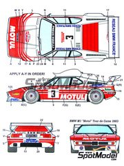 Studio27: Decals 1/24 scale - BMW M1 Group 4 Motul #3 - Bernard Béguin (FR) + Jean-Jacques 'JJ' Lenne (FR) - Tour de Corse 1983 - for Revell kit REV07247