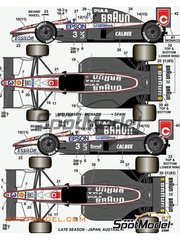 Studio27: Marking 1/20 scale - Tyrrell Honda 020 Braun Epson #4 - Stefano Modena (IT), Satoru Nakajima (JP) - World Championship 1991 - water slide decals and assembly instructions - for Tamiya kit TAM20029