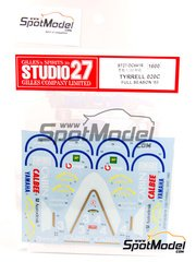 Studio27: Decals 1/20 scale - Tyrrell Honda 020C #3 - Andrea de Cesaris (IT), Ukyo Katayama (JP) - World Championship 1992