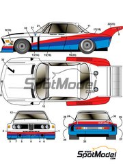 Studio27: Decoración escala 1/24 - BMW 3.5 CSL Turbo Works Team Nº 1 - Ronnie Peterson (SE) + Gunnar Nilsson (SE) - 24 Horas de Le Mans 1976 - calcas de agua y manual de instrucciones