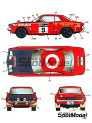 Studio27: Marking / livery 1/24 scale - Toyota 1600GT Daily Mirror #9 - Ove Andersson (SE) + Geraint Phillips (GB) - RAC Rally 1972 and 1973 - water slide decals and assembly instructions
