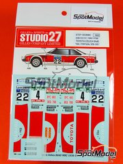 Studio27: Decals 1/24 scale - Toyota Celica RA40 WRC Porto Wine #4, 22 - Ove Andersson (SE) + Henry Liddon (GB), Jean-Luc Thérier (FR) + Michel Vial (FR) - Great Britain RAC Rally 1979