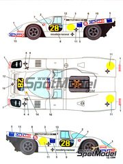 Studio27: Marking / livery 1/24 scale - Porsche 917K Cinzano #28 - Carlos Reutemann (AR) + Emerson Fittipaldi (BR) - 1000 Kms Buenos Aires 1971 - water slide decals and assembly instructions