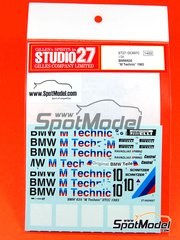 Studio27: Decoración escala 1/24 - BMW 635 Csi Technic Nº 10 - Roberto Ravaglia (IT), Emanuele Pirro (IT) - Campeonato Europeo de Turismos 1983 - para kit de Tamiya TAM24322