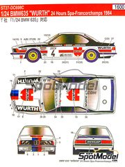 Studio27: Marking / livery 1/24 scale - BMW 635 Csi Wurth #4 - Roberto Ravaglia (IT) + Gerhard Berger (AT) + Manfred Winkelhock (DE) - 24 Hours SPA Francorchamps 1984 - water slide decals and assembly instructions - for Tamiya references TAM24322 and 24322