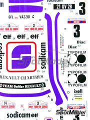 Studio27: Marking / livery 1/24 scale - Renault 5 Turbo Sodicam #3, 14 - Jean-Luc Thérier (FR) + Michel Vial (FR) - Tour de Corse 1982 - water slide decals and assembly instructions