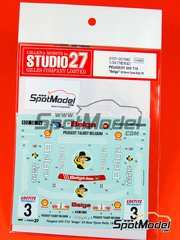 Studio27: Decals 1/24 scale - Peugeot 205 Turbo 16 Belga #3 - Bernard Darniche (FR) + Alain Mahé (FR) - 24 Hours de Ypres Rally 1985 - water slide decals and assembly instructions - for Tamiya references TAM24054 and 24054
