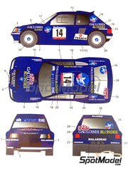 Studio27: Decals 1/24 scale - Peugeot 205 Turbo 16 Rothmans Gauloises #14 - Bernard Darniche (FR) + Alain Mahé (FR) - Tour de Corse 1985 - for Tamiya references TAM24054 and 24054