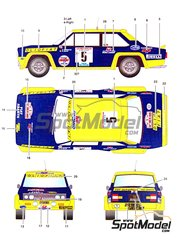 Studio27: Marking / livery 1/24 scale - Fiat 131 Olio #5 - Bernard Darniche (FR) + Alain Mahé (FR) - Tour de Corse 1977 - water slide decals and assembly instructions - for Italeri references 3662, ITA3662, 3662S, ITA3690 and 3690, or Revell references REV07311 and 07311