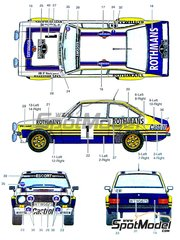 Studio27: Decals 1/24 scale - Ford Escort RS Rothmans #1 - Björn Waldegård (SE) + Hans Thorszelius (SE) - Acropolis rally 1979 - for Italeri reference 3655, or Revell references REV07374 and 7374