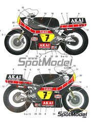 Studio27: Decals 1/12 scale - Yamaha YZR500 Akai #7 - Barry Sheene (GB) - World Championship 1980