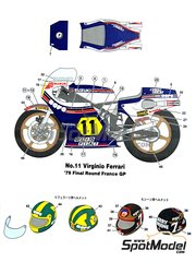 Studio27: Marking / livery 1/12 scale - Suzuki RGB500 Nava Olio Fiat #1, 2 - Graziano Rossi (IT) - Motorcycle World Championship 1979 - water slide decals and assembly instructions