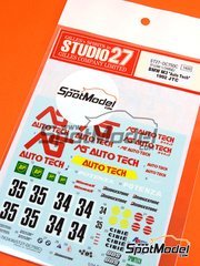 Studio27: Marking 1/24 scale - BMW M3 AS Auto Tech #34, 35 - Mark Higgins (GB) + Paul Radish (GB), Roland Ratzenberger (AT) + Andrew Gilbert-Scott (GB) - Japan Touring Car Championship 1992 - water slide decals and assembly instructions - for Aoshima kit 098196, or Fujimi kits FJ062440, FJ062624, FJ062693 and FJ125725