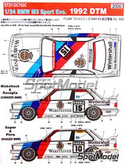 Studio27: Marking / livery 1/24 scale - BMW M3 Sport Evo  Warsteiner #9, 10, 14, 15 - Roberto Ravaglia (IT), Emanuele Pirro (IT), Steve Soper (GB), Joachim Winkelhock (DE) - DTM 1992 - water slide decals and assembly instructions - for Fujimi references FJ06097, FJ06127, FJ062440, FJ062532, FJ062624, FJ062693, FJ12287, FJ12572 and FJ62440