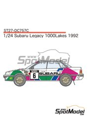 Studio27: Marking 1/24 scale - Subaru Legacy RS Subaru Rally Team Europe #6 - Colin McRae (GB) + Derek Ringer (GB) - 1000 Lakes Finland Rally 1992 - water slide decals and assembly instructions - for Hasegawa kit 20290