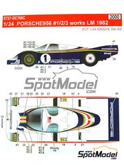 Studio27: Marking / livery 1/24 scale - Porsche 956 Works #1, 2, 3 - Jacques Bernard 'Jacky' Ickx (BE) + Derek Bell (GB), Hurley Haywood (US) + Alvah Robert 'Al' Holbert (US), Jochen Mass (DE) + Vern Schuppan (AU) - 24 Hours Le Mans 1982 - water slide decals and assembly instructions - for Tamiya references TAM24309 and TAM24314