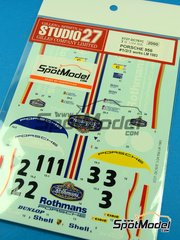 Studio27: Marking / livery 1/24 scale - Porsche 956 Works Rothmans #1, 2, 3 - Jacques Bernard 'Jacky' Ickx (BE) + Derek Bell (GB), Hurley Haywood (US) + Alvah Robert 'Al' Holbert (US), Jochen Mass (DE) + Vern Schuppan (AU) - 24 Hours Le Mans 1983 - water slide decals and assembly instructions - for Tamiya references TAM24047, TAM24232, TAM24309 and TAM24314 image