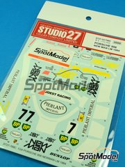 Studio27: Marking / livery 1/24 scale - Porsche 956 New Man #7, 8 - Henri Pescarolo (FR) + Klaus Ludwig (DE), Jean-Louis Schlesser (FR) + Stefan Johansson (SE) + Mauricio de Narváez (CO) - 24 Hours Le Mans 1984 - water slide decals and assembly instructions - for Tamiya kits TAM24309 and TAM24314