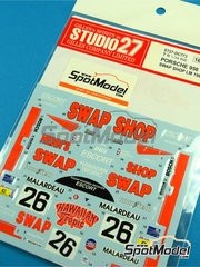 Studio27: Marking / livery 1/20 scale - Porsche 956 Swap Shop #26 - Preston Henn (US) + Jean Rondeau (FR) + John Paul (US) - 24 Hours Le Mans 1984 - water slide decals and assembly instructions - for Tamiya references TAM24309 and TAM24314 image