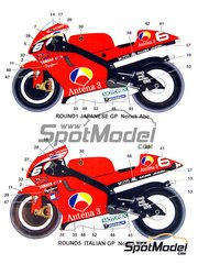 Studio27: Marking / livery 1/12 scale - Yamaha YZR500 Antena3 #6, 10 - Motorcycle World Championship 2001 - water slide decals and assembly instructions