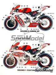 Studio27: Marking / livery 1/12 scale - Honda RC211V Fortuna #74 - Motorcycle World Championship 2002 - water slide decals and assembly instructions - for Tamiya references TAM14092 and 14092