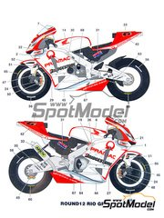 Studio27: Marking / livery 1/12 scale - Honda RC211V Pramac Bridgestone #6, 74 - Motorcycle World Championship 2003 - water slide decals and assembly instructions - for Tamiya kit