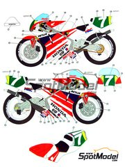 Studio27: Marking / livery 1/12 scale - Honda NSR250 #7 - Masahiro Shimizu (JP) - Motorcycle World Championship 1991 - water slide decals and assembly instructions - for Tamiya references TAM14059, 14059, TAM14061, 14061, TAM14110 and 14110