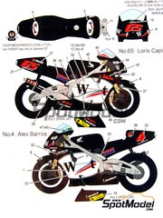 Studio27: Decals 1/12 scale - Honda NSR500 West #4 - Loris Capirossi (IT), Alex Barros (BR) - Spanish Grand Prix 2001 - for Tamiya kit