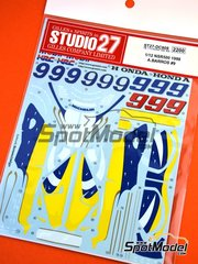 Studio27: Marking / livery 1/12 scale - Honda NSR500  Mobil #9 - Alex Barros (BR) - Motorcycle World Championship 1998 - water slide decals and assembly instructions - for Tamiya reference TAM14071