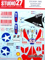 Studio27: Marking / livery 1/12 scale - Ducati Desmosedici GP9  Riello Enel Alice #69 - Nicky Hayden (US) - Australian Moto GP Grand Prix 2009 - water slide decals and assembly instructions - for Tamiya references TAM14101, 14101, TAM14103 and 14103