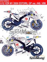 Studio27: Decals 1/12 scale - Yamaha YZR-M1 Fiat Petronas #46, 99 - Valentino Rossi (IT), Jorge Lorenzo (ES) - Portuguese Grand Prix 2009
