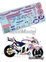Studio27: Marking / livery 1/12 scale - Honda RC211V Repsol #2, 69 - Daniel 'Dani' Pedrosa (ES), Nicky Hayden (US) - Valencia Grand Prix 2008 - water slide decals and assembly instructions - for Tamiya kits TAM14106, TAM14107 and TAM14108