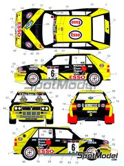 Studio27: Calcas de agua escala 1/24 - Lancia Super Delta Deltona HF Integrale Esso Nº 6, 20 - Piero Longhi (IT) + Maurizio Imerito (IT) - Rally de Cataluña Costa Dorada RACC 1992 - para kit de Hasegawa 20289