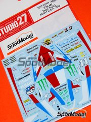 Studio27: Decals 1/12 scale - Yamaha YZR-M1 Team Tech3  Monster #5, 11 - Colin Edwards (US), Ben Spies (US) - USA Grand Prix 2010 - for Tamiya references TAM14117 and TAM14119