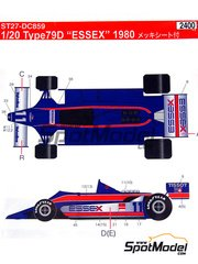 Studio27: Decals 1/20 scale - Lotus 79D Essex #11, 12, 43 - Elio de Angelis (IT), Nigel Ernest James Mansell (GB), Mario Andretti (US) - Brazilian Grand Prix 1980 - for Tamiya reference TAM20061