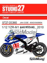 Studio27: Decals 1/12 scale - Yamaha YZR-M1 Fiat #46, 99, 8 - Valentino Rossi (IT), Jorge Lorenzo (ES) - Motorcycle World Championship 2010 - for Tamiya references TAM14117 and TAM14119
