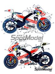 Studio27: Decals 1/12 scale - Yamaha YZR-M1 Abarth #5, 46 - Colin Edwards (US), Valentino Rossi (IT) - Australian Grand Prix 2007 - for Tamiya references TAM14117 and TAM14119
