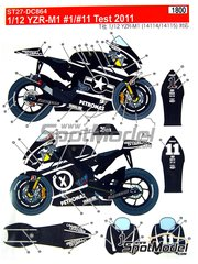 Studio27: Marking / livery 1/12 scale - Yamaha YZR-M1 Petronas #1 - Jorge Lorenzo (ES) - IRTA Test 2011 - water slide decals and assembly instructions - for Tamiya references TAM14119, 14119, TAM14120 and 14120