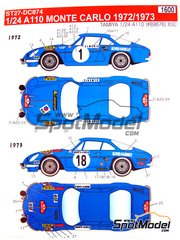 Studio27: Decals 1/24 scale - Renaul Alpine A110 ELF #1, 17, 18, 23 - Jean-Luc Thérier (FR) + Claude Roure (FR), Bernard Darniche (FR) + Alain Mahé (FR), Jean-Pierre Nicolas (FR) + Michel Vial (FR) - Montecarlo Rally 1972 and 1973 - for Tamiya reference TAM24278