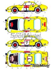 Studio27: Marking / livery 1/24 scale - Renault Alpine A110 ELF #5, 7 - Jean-Pierre Nicolas (FR) + Jean-Luc Thérier (FR), Jean-Pierre Nicolas (FR) + Vincent Laverne (FR) - Sanremo Rally, Tour de Corse 1975 - water slide decals and assembly instructions - for Tamiya references TAM24278 and 24278