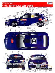 Studio27: Decals 1/24 scale - Subaru Imprezza Team Arai #33 - Toshihiro Arai (JP) + Glenn Macneall (AU) - Walles Rally 2009