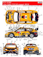 Studio27: Decals 1/24 scale - Ford Focus WRC RS10 Expert #6 - Henning Solberg (NO) - Mexico Rally, Svezia Sweden Rally 2010 - for SimilR reference SIMILR-121001